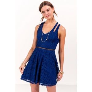 Francesca's Collections Dresses - Blue Lace Fit and Flare Dress